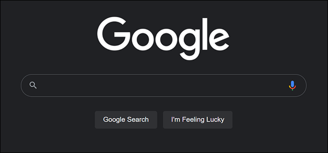 Google Search on desktop in dark mode.