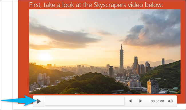 Click the play button on the video in PowerPoint.