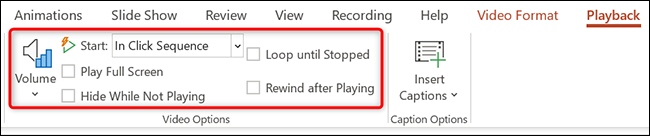 """Manage video's playback with the """"Video Options"""" in the """"Playback"""" tab in PowerPoint."""