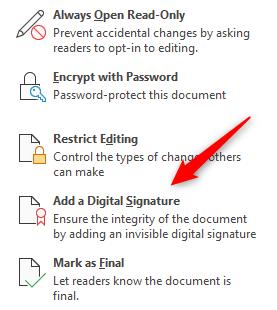 Clique em Adicionar uma assinatura digital.