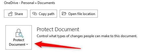 Clique em Proteger documento na seção Informações.