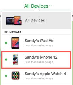 Επιλέξτε τη συσκευή στο Find My στο iCloud