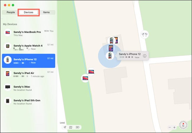 Επιλέξτε τη συσκευή στο Find My on Mac