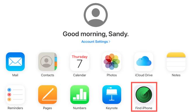 Κάντε κλικ στην Εύρεση του iPhone μου στο iCloud.com