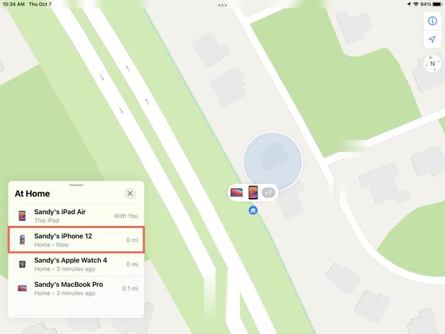 Επιλέξτε τη συσκευή στο Find My on iPad