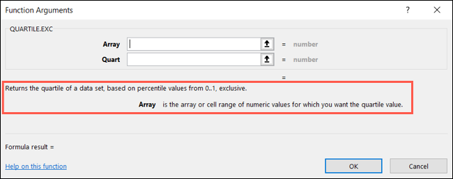 View the function and formula details