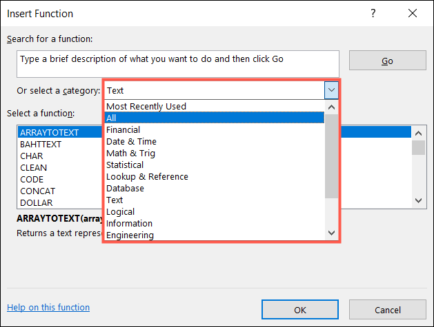 Choose a function category