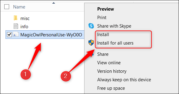 Install the font in Word on Windows.