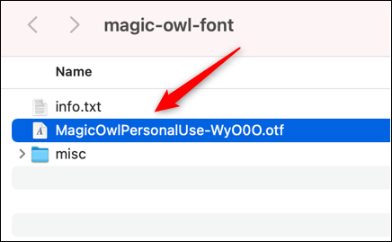 Open the font on Mac.