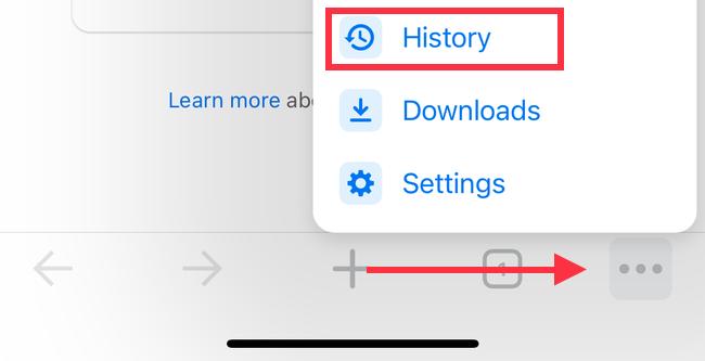 История в настройках iPhone Chrome