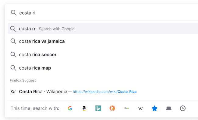 Firefox suggerisce i risultati della barra degli indirizzi.