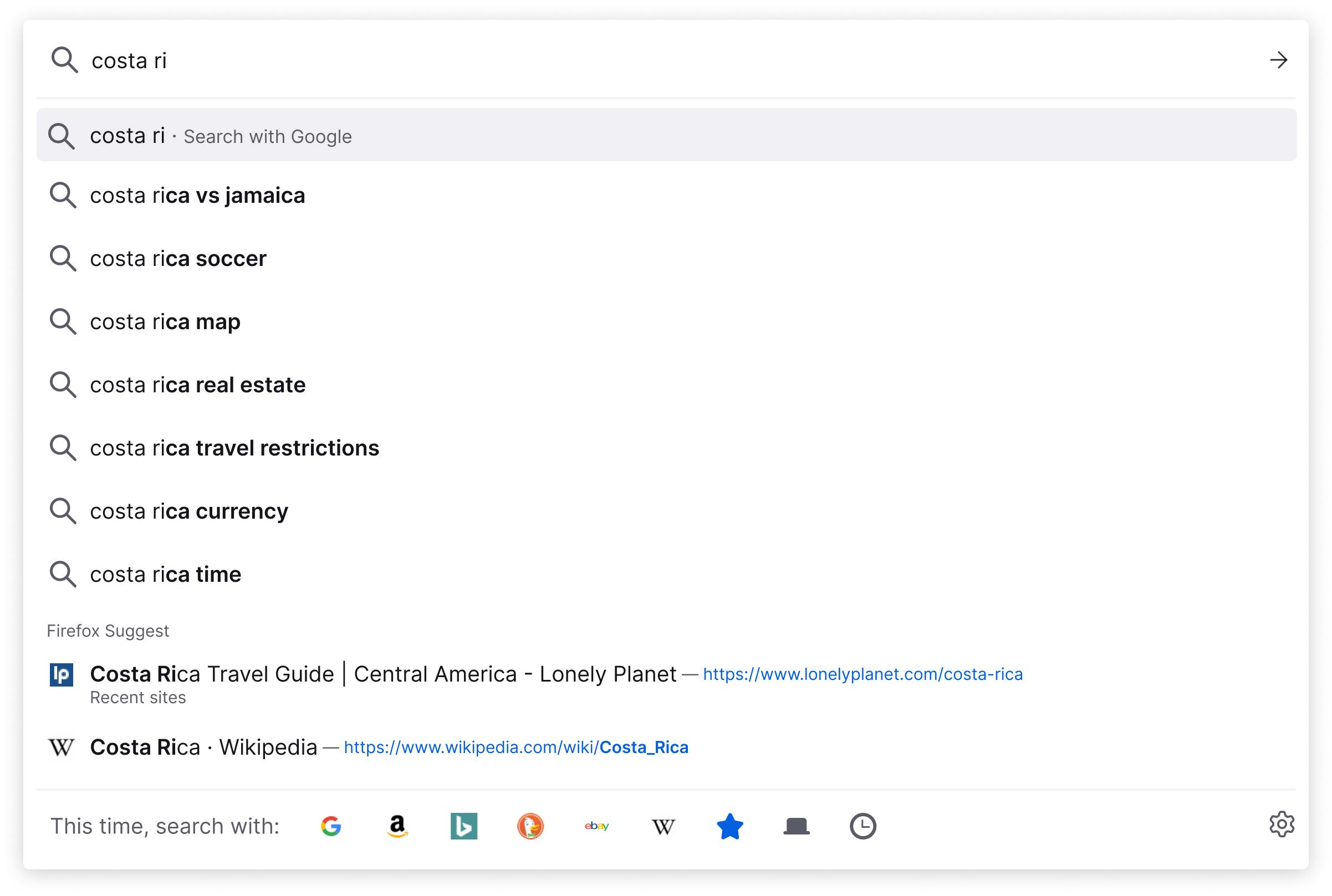 Barra de navegação do Firefox Suggest