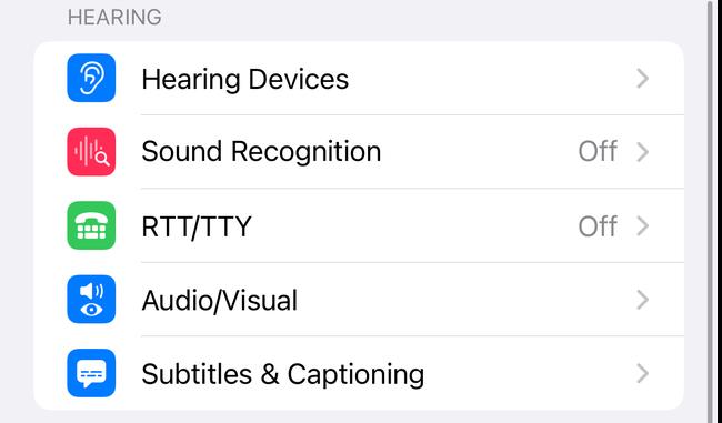 Audio/Visual setting in iOS Accessibility settings