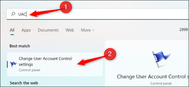"""Search for """"UAC"""" in the Start menu and launch the """"Change User Account Control Settings"""" shortcut."""