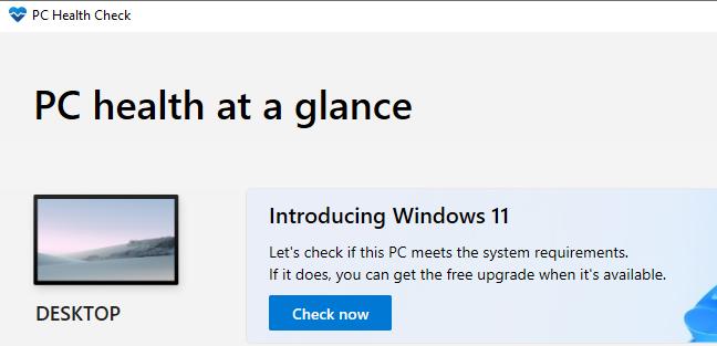 Microsoft's PC Health Check app.