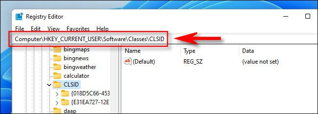 Navigate to the correct key in Registry Editor on Windows 11.