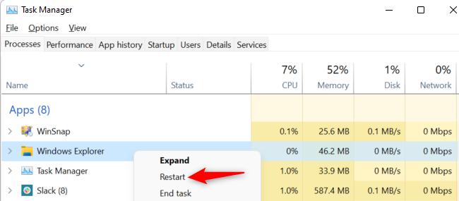 "Right-click ""Windows Explorer"" and select ""Restart."""