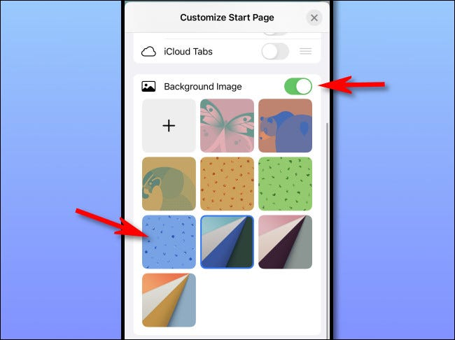 Select a Start Page background in Safari on iPhone or iPad.