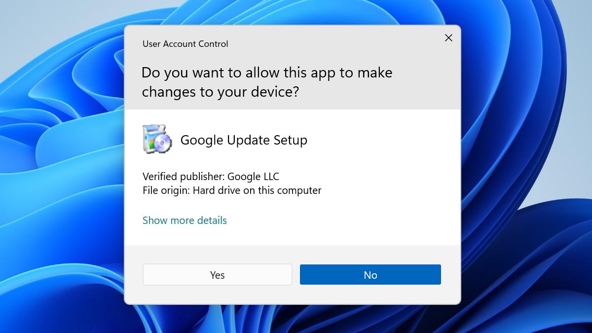 A User Account Control prompt on a Windows 11 desktop.
