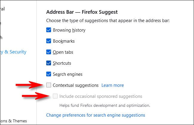 """Uncheck """"Contextual Suggestions"""" and """"Include occasional sponsored suggestions."""""""