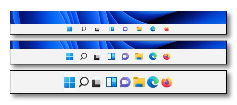 Windows 11 three taskbar sizes from a registry hack