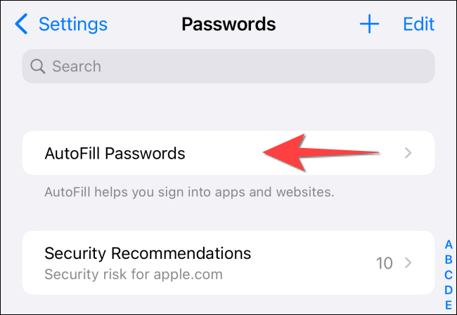 "Tap on ""Autofill Passwords"" option to open it."