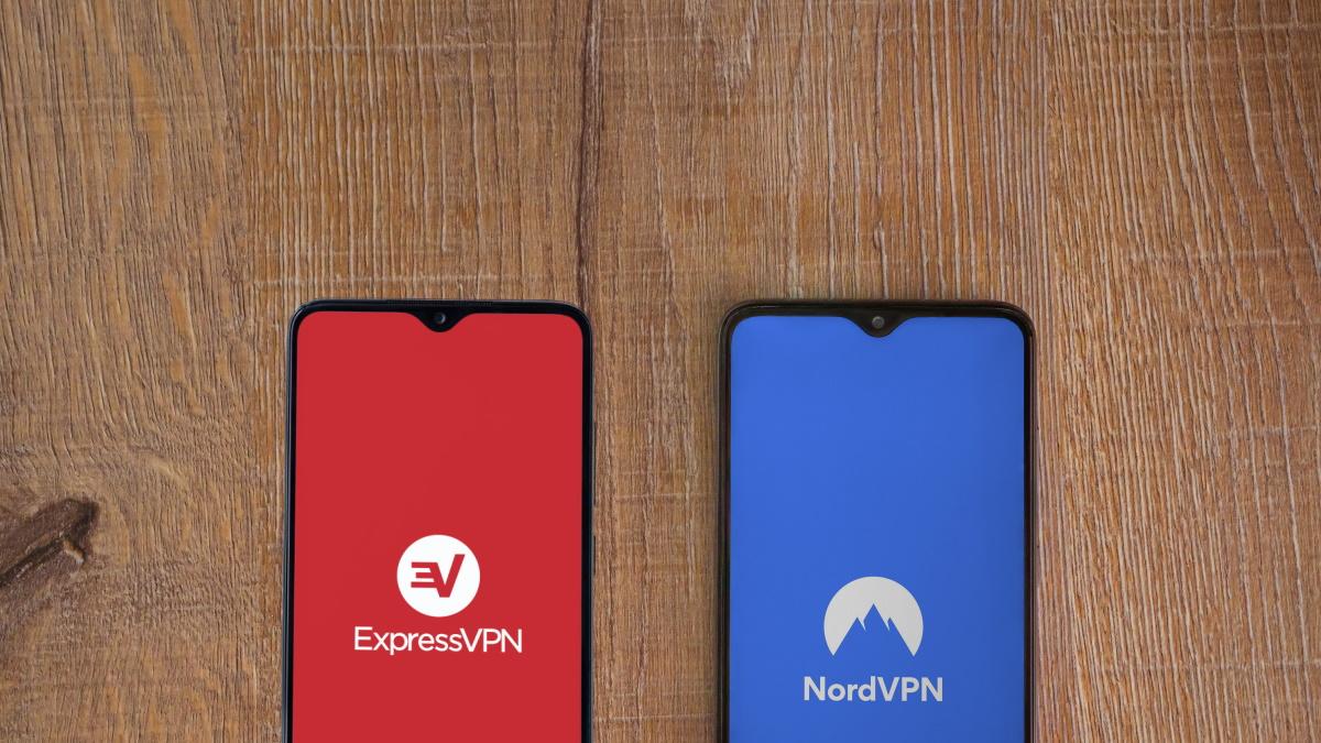 ExpressVPN and NordVPN logos on smartphones.