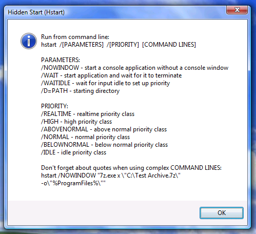 windows start exe with arguments