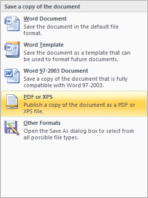 As add-in publish pdf or xps
