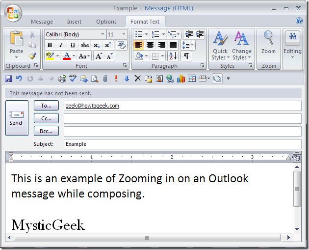 how to change zoom in outlook