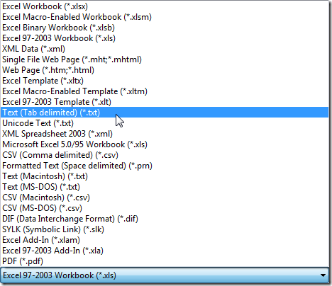 Convert An Excel Spreadsheet To A Tab Delimited Text File