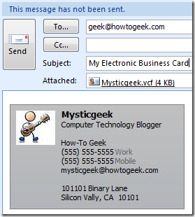 how to create an ecard in outlook 2010