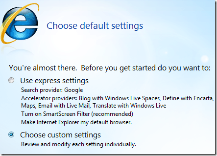 choose settings