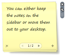 vista notes on desktop