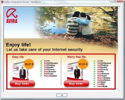 avira pop up ad while updating