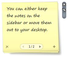 vista notes on desktop