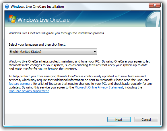 Downloading and updating windows live onecare safety scanner components
