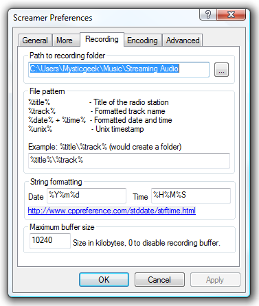 how to find bitrate for recording
