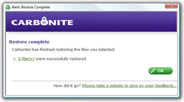 restore complete