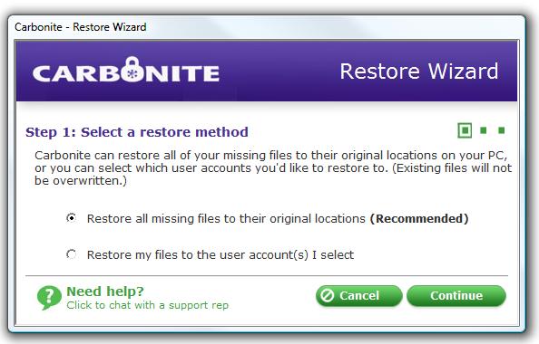 restore wizard