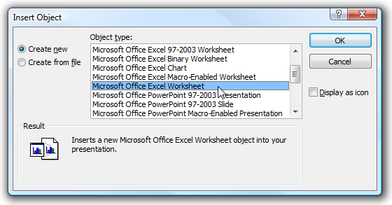 Embed an Excel Worksheet Into PowerPoint or Word 2007