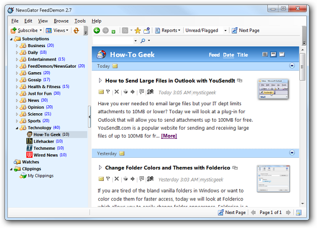 Organize your RSS Feeds with FeedDemon