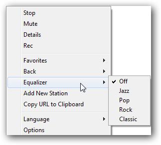 options from taskbar