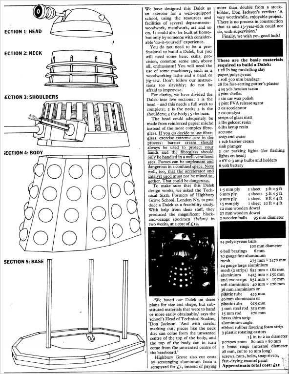 Dalek Blueprint Page 01 Build Your Own Dalek Blueprints On Blueprint Build Your Own