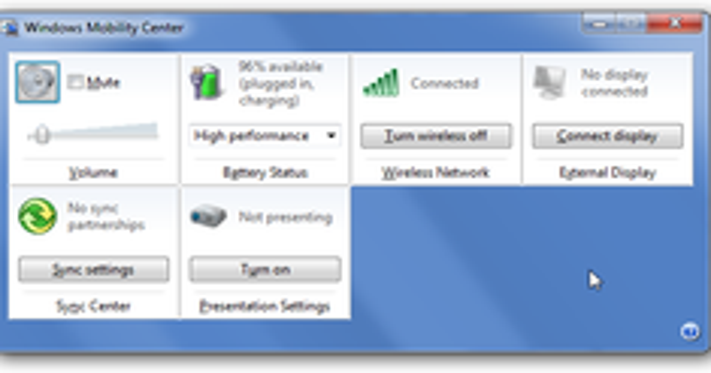 Disable Windows Mobility Center in Windows 7 or Vista