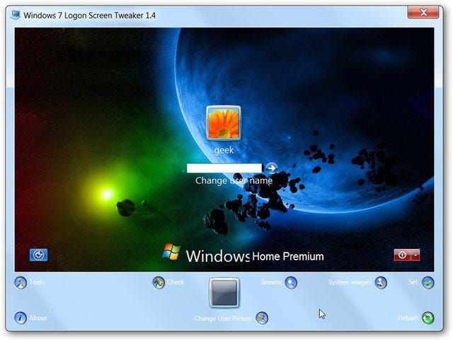 Windows 7 Logon Screen Tweaker Customizes Your Wallpaper And More