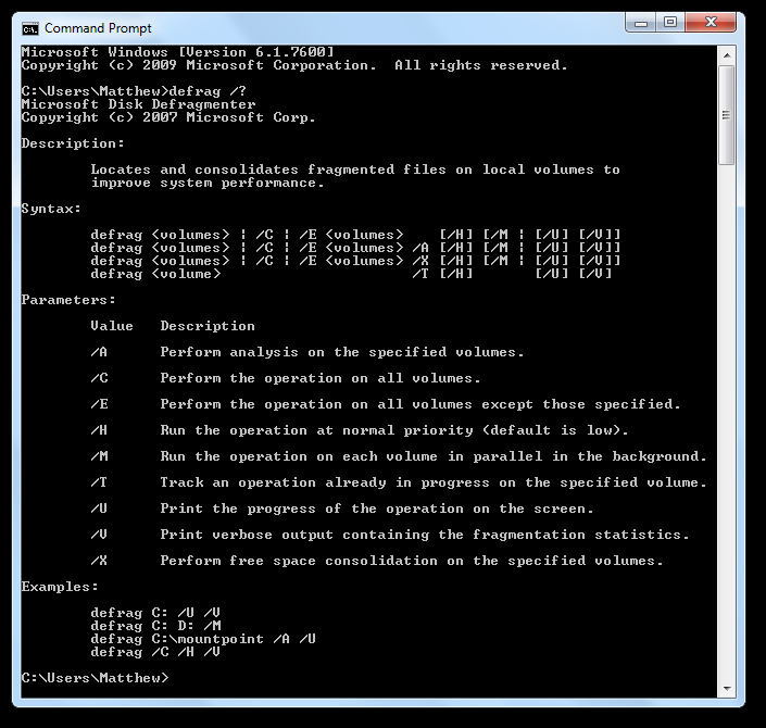 Dig Deeper in Windows Defrag via Command Prompt