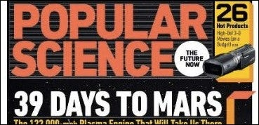 Popular Science magazine heading, showing 39 days to mars.