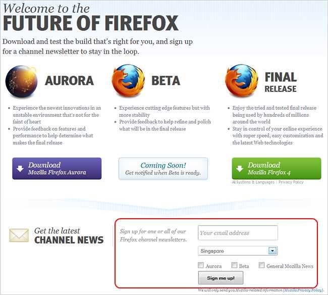 Download the Latest Firefox Aurora and Nightly Builds, Get
