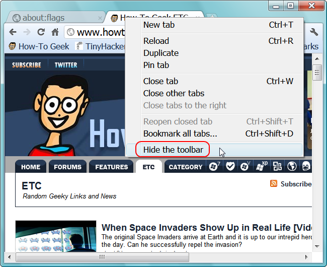 How to Auto-Hide the Address Bar in Google Chrome and Chromium